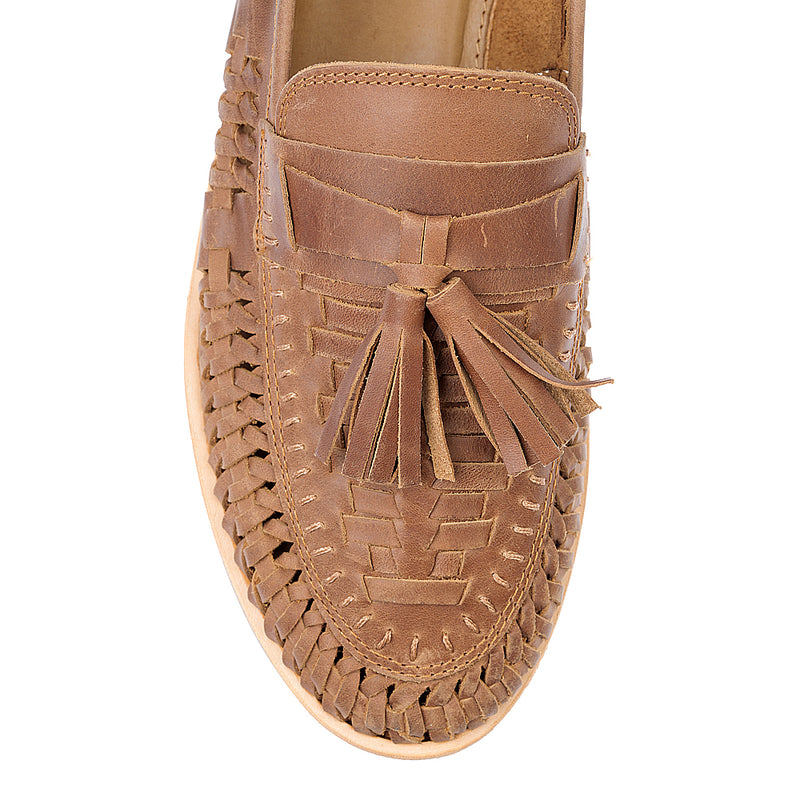 Wilkes mocha oily woven leather mens slip on shoes 3