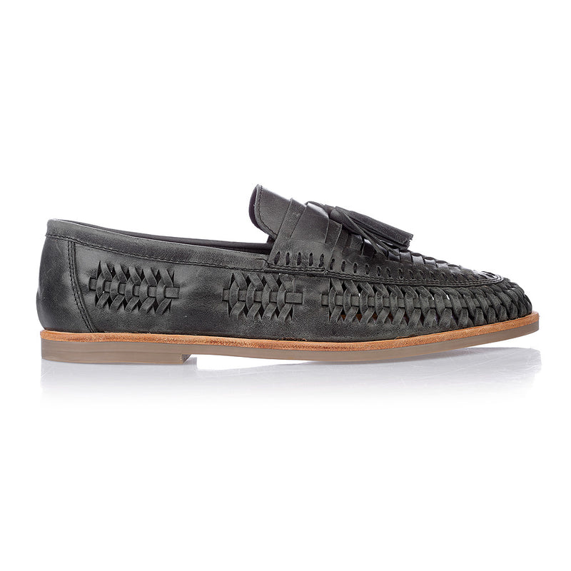 Wilkes black oily woven leather mens slip on shoes
