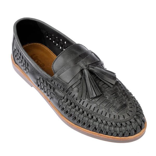 Wilkes black oily woven leather mens slip on shoes 1