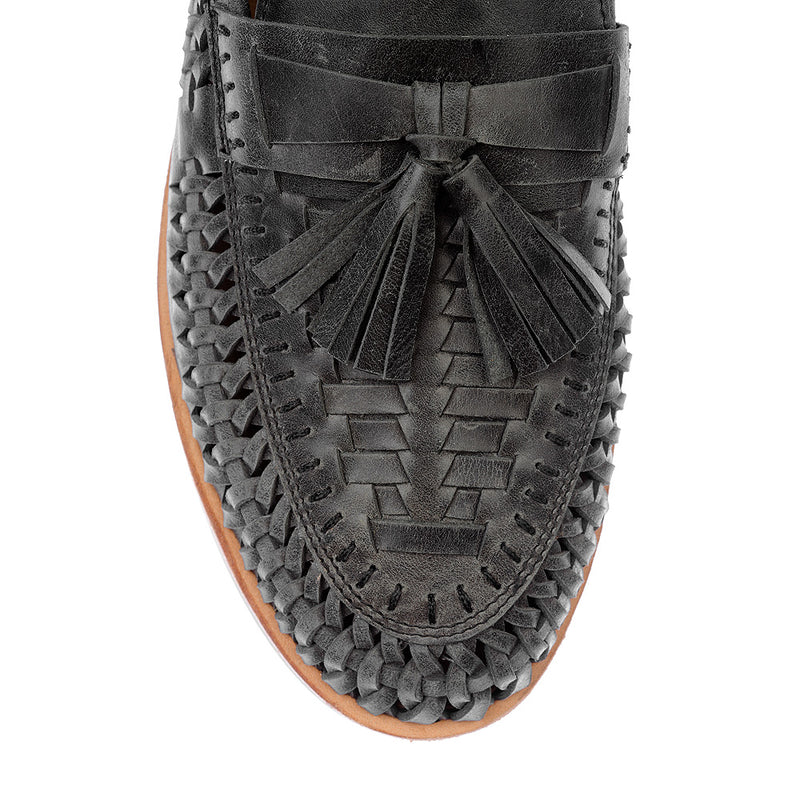 Wilkes black oily woven leather mens slip on shoes 2