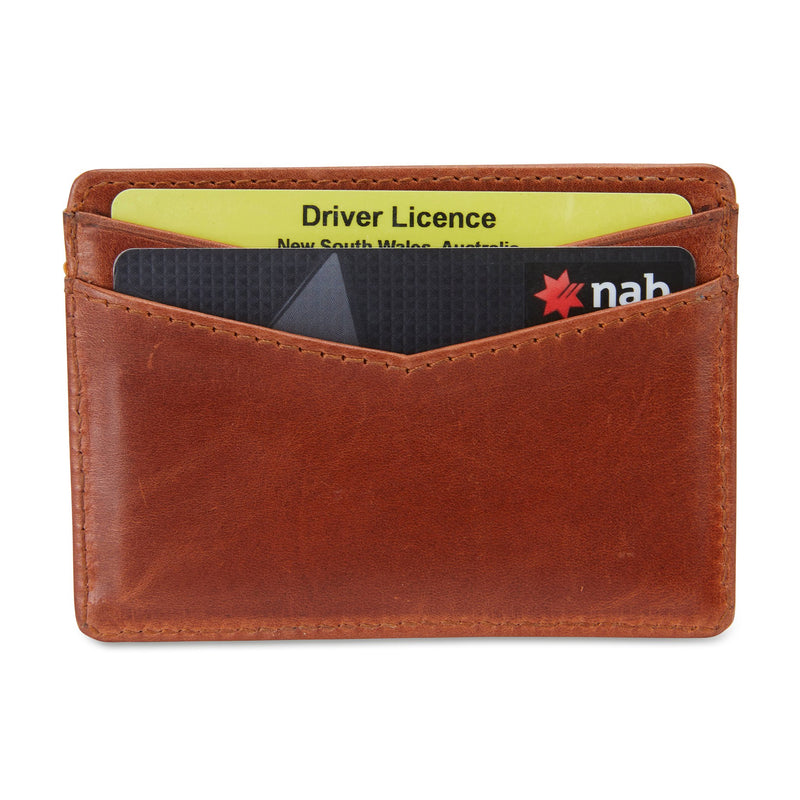 Credit card holder tan leather back