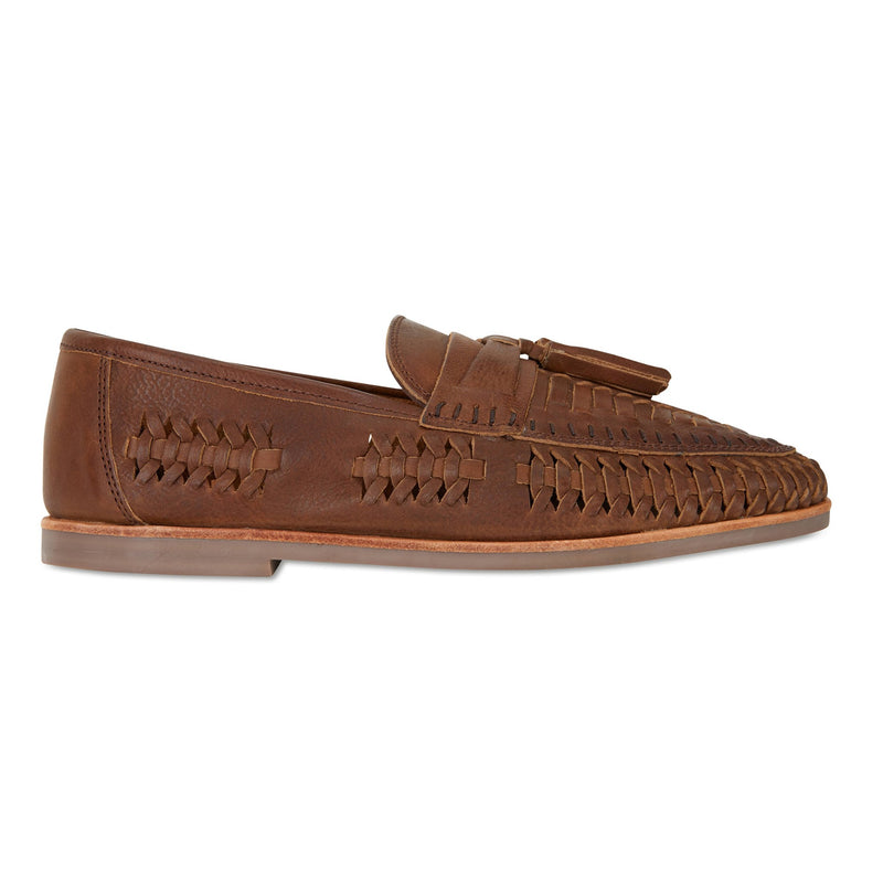 Wilkes espresso milled woven leather mens slip on shoes