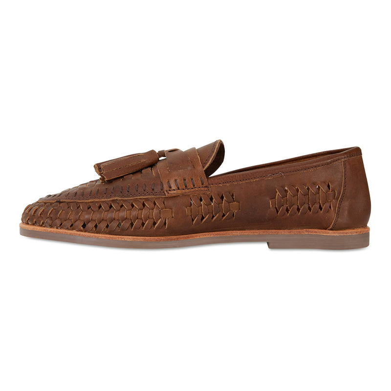 Wilkes espresso milled woven leather mens slip on shoes 2
