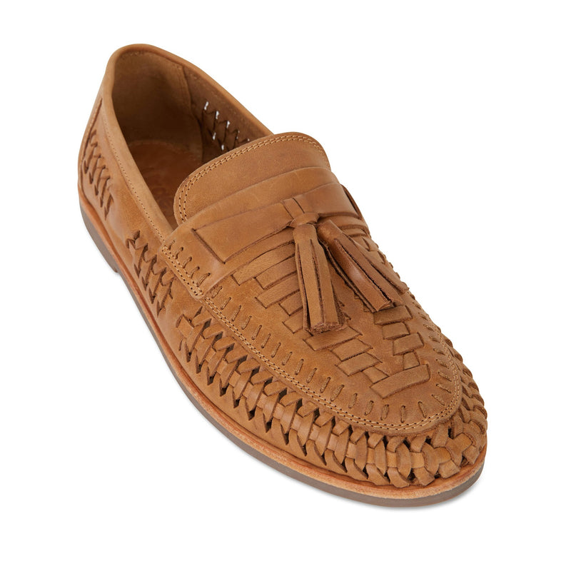 Wilkes tan burnished woven leather mens slip on shoes