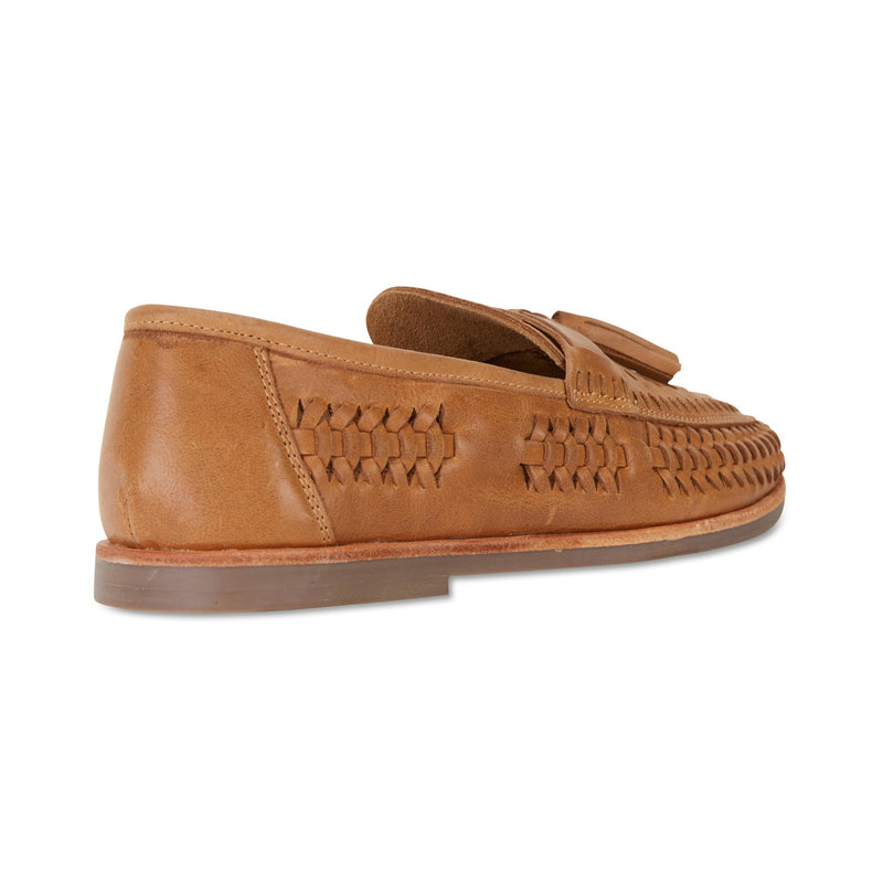Wilkes tan burnished woven leather mens slip on shoes 2