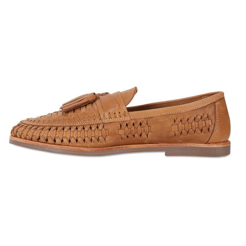 Wilkes tan burnished woven leather mens slip on shoes 3
