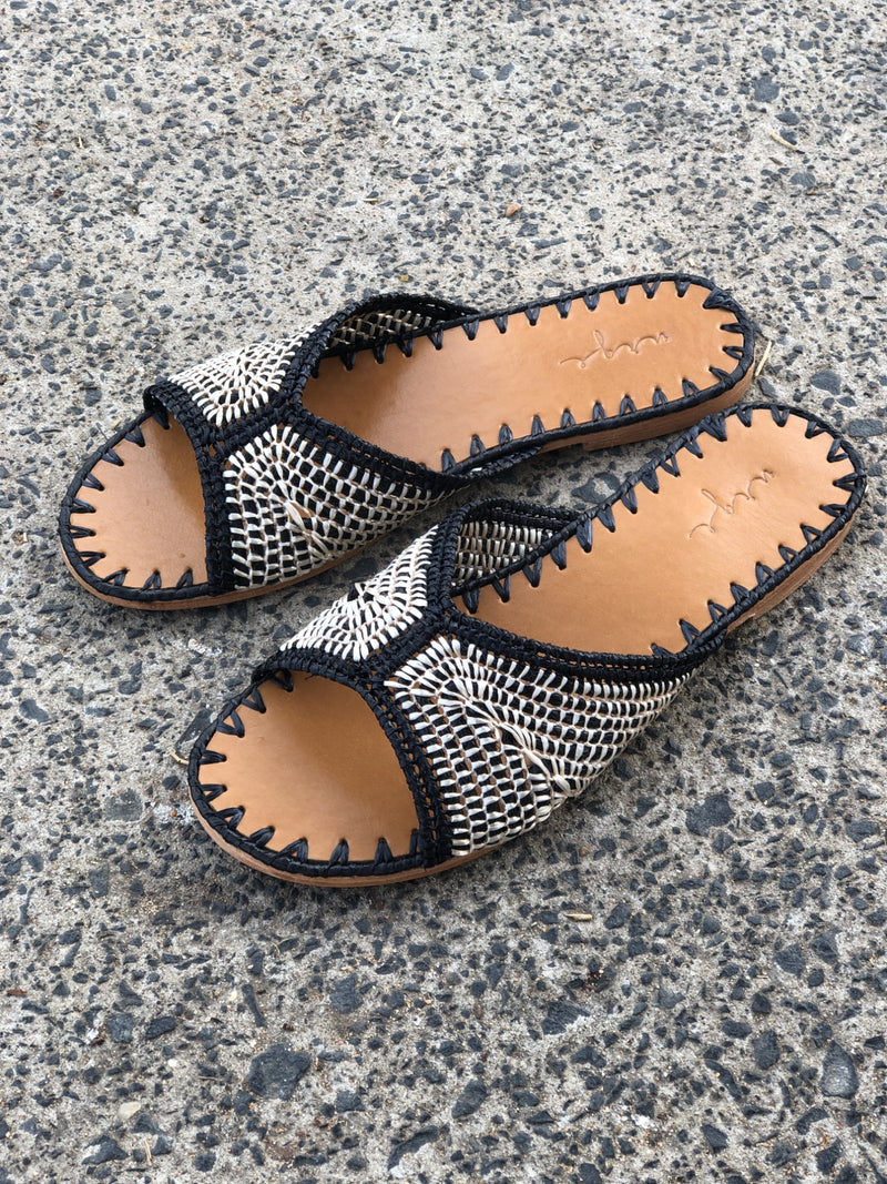 Yasmin black and natural raffia handwoven slides with leather sole for women lifestyle