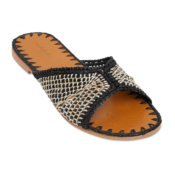 Yasmin black and natural raffia handwoven slides with leather sole for women 2