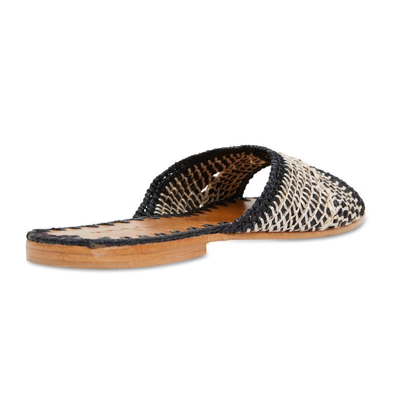 Yasmin black and natural raffia handwoven slides with leather sole for women 3