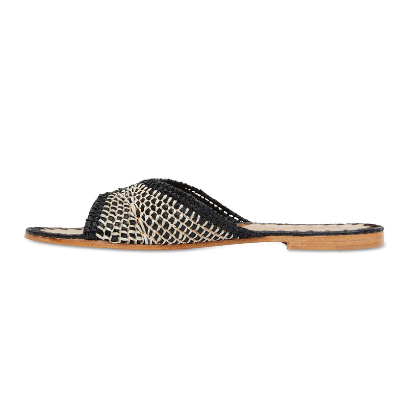 Yasmin black and natural raffia woven slides with leather sole for women 3