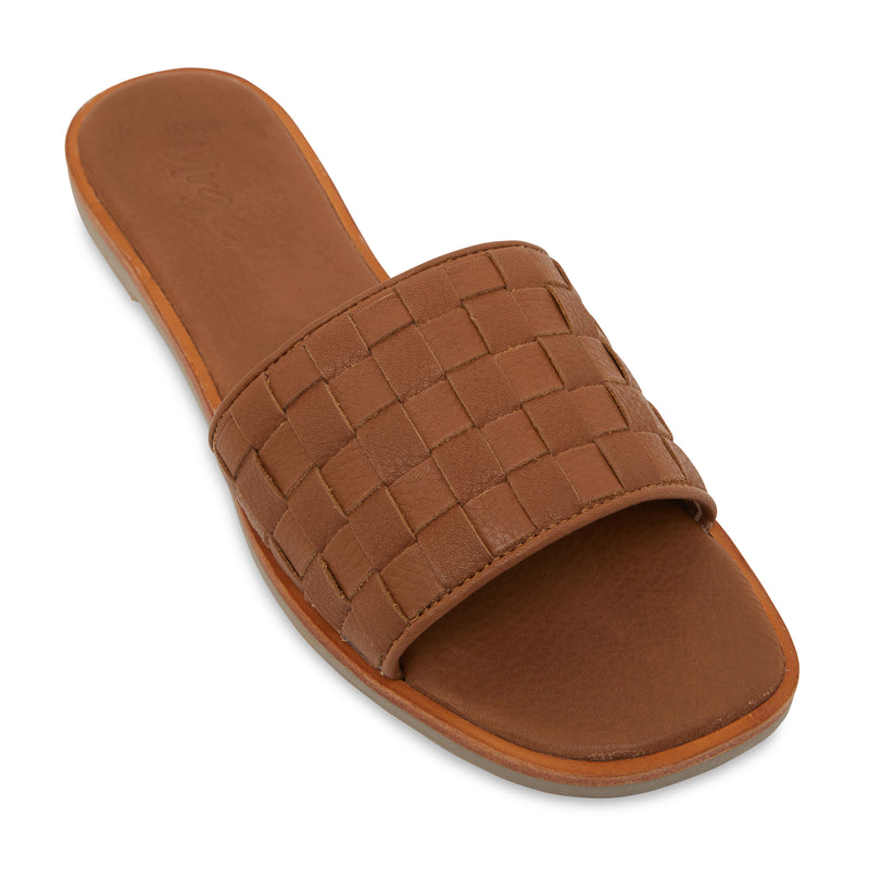 zalli tan leather slides with woven upper pattern 1