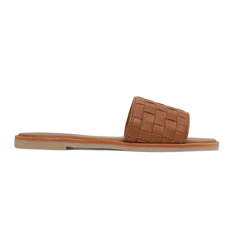 zalli tan leather slides with woven upper pattern