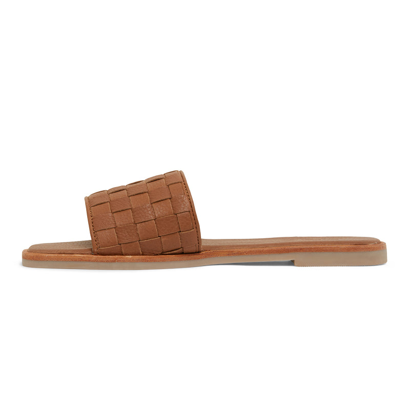 zalli tan leather slides with woven upper pattern 2