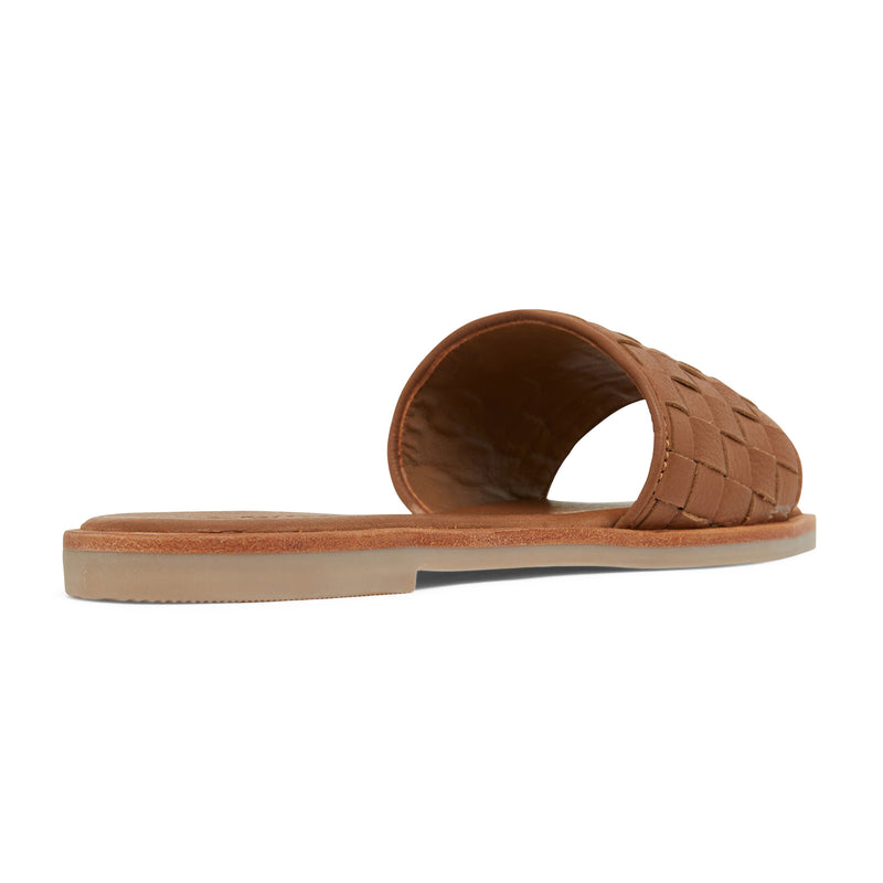 zalli tan leather slides with woven upper pattern 3