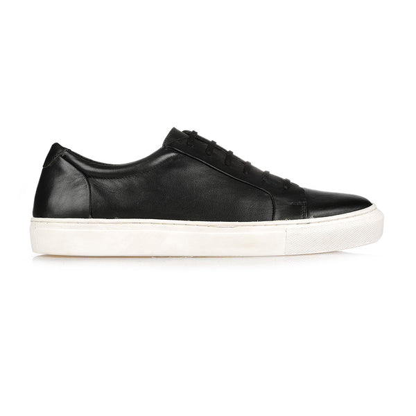 PERSPECTIVE BLACK LEATHER SNEAKER