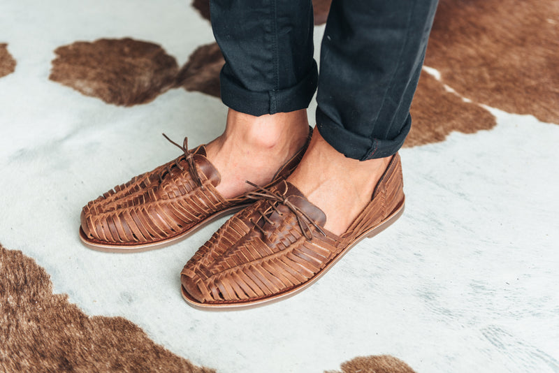 Mykonos II mocha leather woven lace up shoes for men  lifestyle