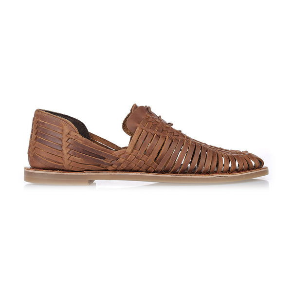 Mykonos II mocha leather woven lace up shoes for men