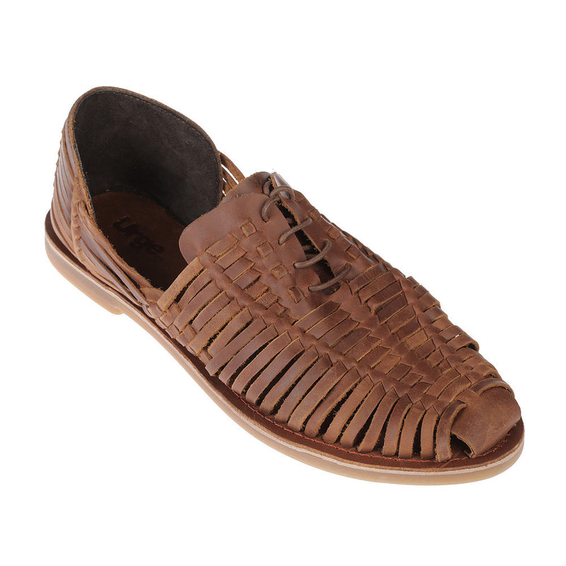 Mykonos II mocha leather woven lace up shoes for men 1