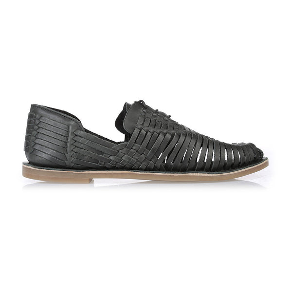 Mykonos II black leather woven lace up shoes for men