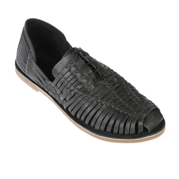 Mykonos II black leather woven lace up shoes for men 1