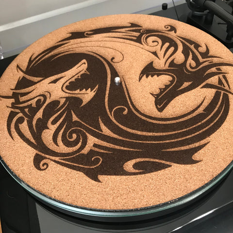 Cork Turntable Slip Mat - Fighting Koi