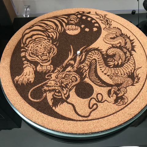 Cork Turntable Slip Mat - Ying Yang Tiger & Dragon
