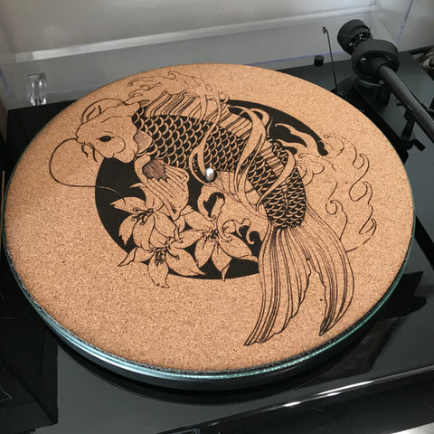 Cork Turntable Slip Mat  - Koi