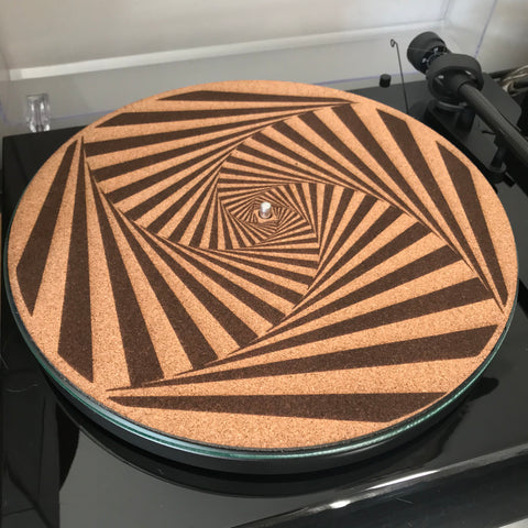 Cork Turntable slip mat - Spiral Vortex