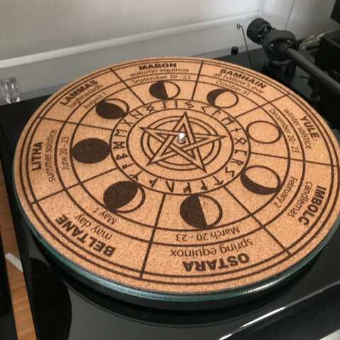 Cork Turntable Slipmat - Wheel of the year