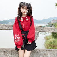 2 piece set women turndown collar chinese cartoon embroidery hoodies sweatshrt and mini Suspender skirt sweet style clothes