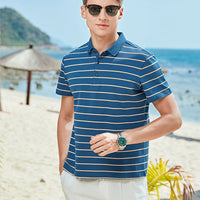 Men's short sleeve T-shirt new stripe lapel business casual summer half sleeve polo unlined upper garment of cotton blouse