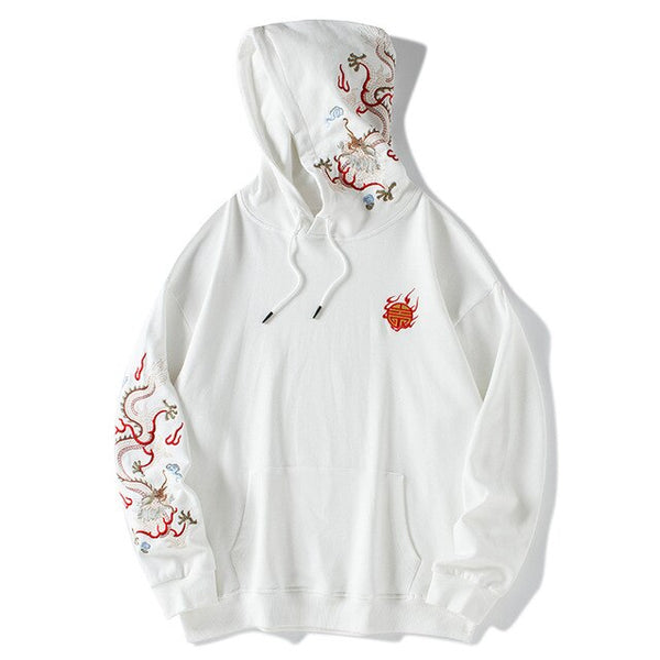 New Trendy Chinese Style Dragon Embroidery Sweatshirts Men's Loose Cotton Hoodie Retro Men's Yokosuka Dragon Embroidery Hoodie