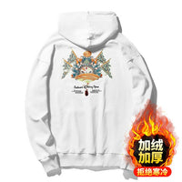 Autumn Winter New Chinese Style Fashion Loose Peking Opera Facial Makeup Embroidery Hooded  Hoodie Oversized Sweatshirt