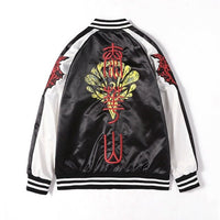 Lyprerazy Men Embroidered Jacket Hoodies Chinese style snake head baseball uniform flight suit Jackets Men's Harajuku Outwear