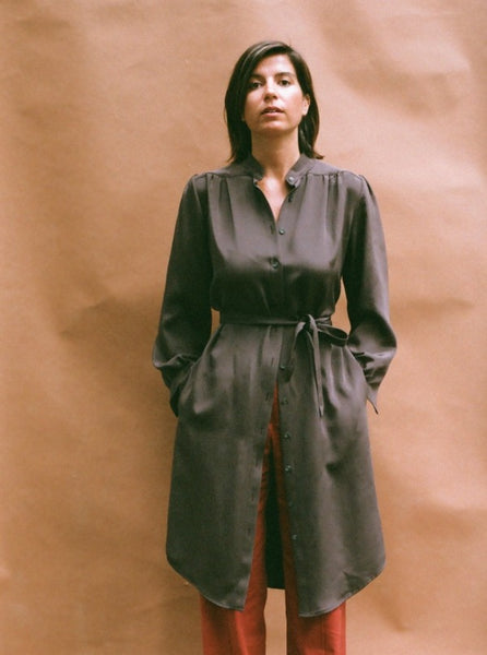 Silk Trench, pockets, sandalwood