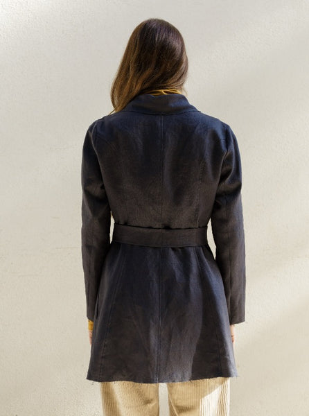 Deconstructed Linen Wrap Jacket, Charcoal