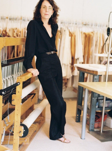 Mae Pant, black, on Jean, shown with the Marie Blouse