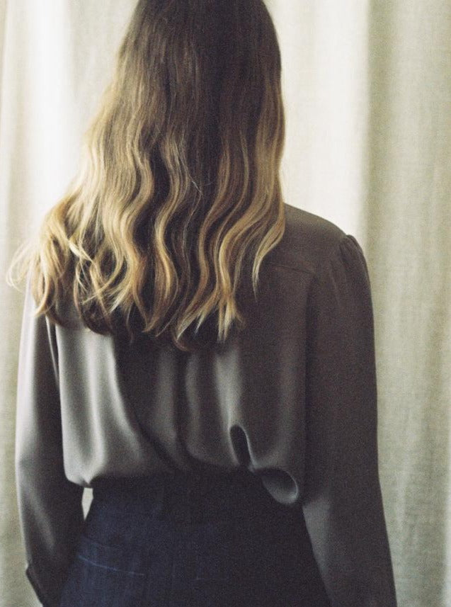 Jessica Silk Crepe de Chine Blouse in Taupe, back view