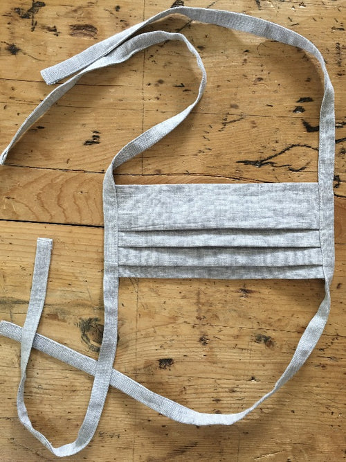 100% Linen Face Mask, Pleated
