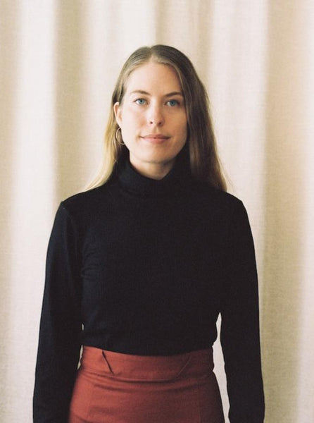 Jasmine Rollneck, Black Rib Knit, with Murphy Skirt in Rust