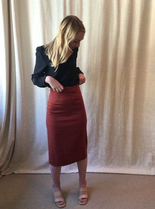 Murphy Skirt, rust, with the Marie Blouse in black