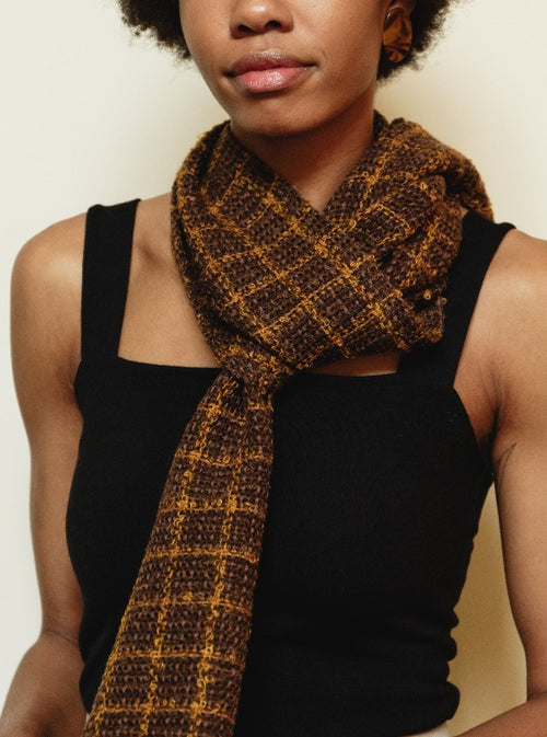 Handwoven Scarf in Windowpane Plaid