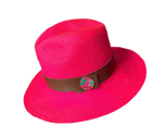Panama Hat & Leather strap Fuchsia