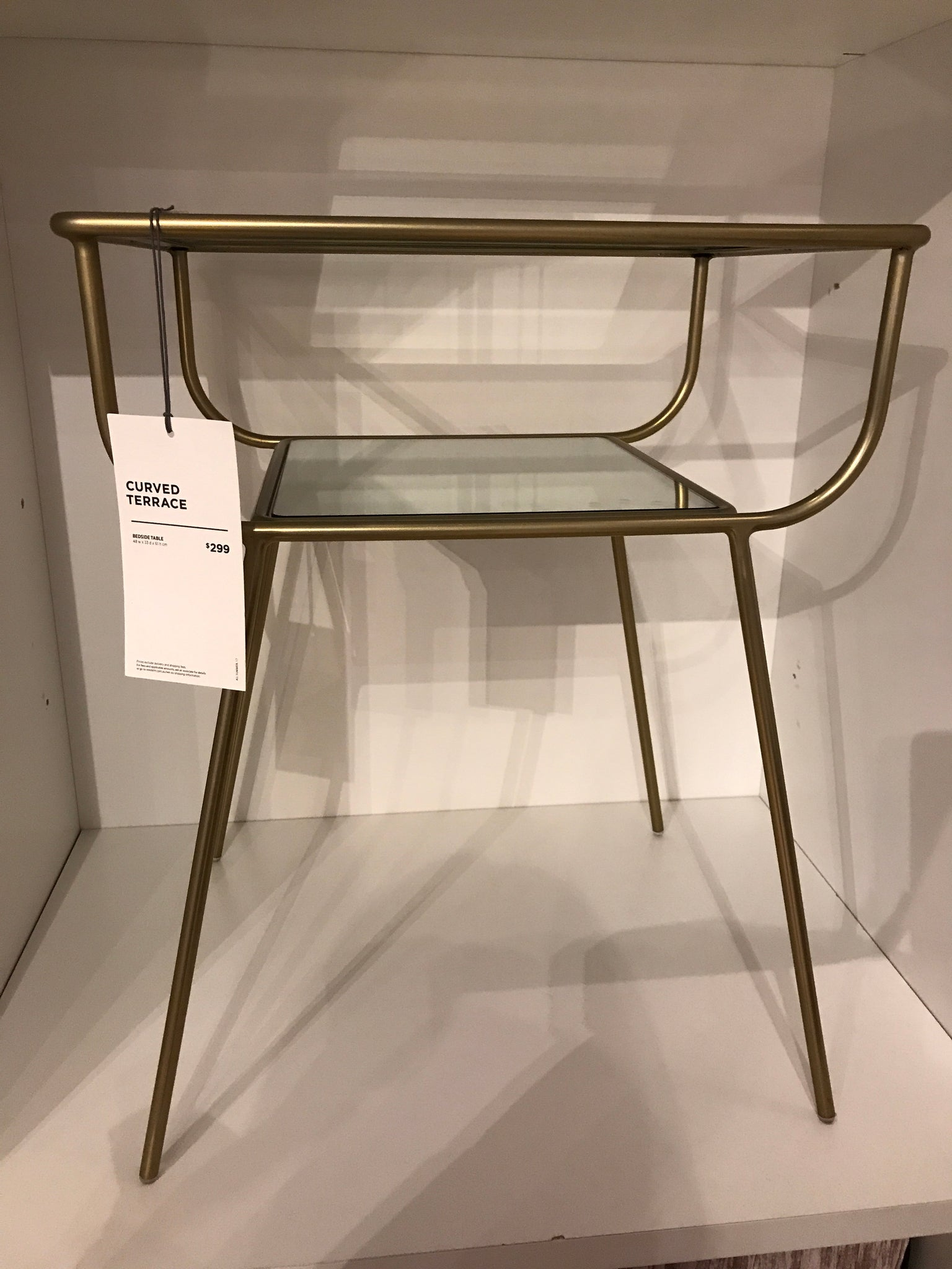 West Elm Curved Terrace Glass Bedside Table