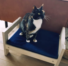 Load image into Gallery viewer, Cute cat bed / cot from thick birchwood with soft cat mattress
