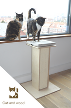 Load image into Gallery viewer, Cat scratching post, wooden cat scratcher, handmade cat tower, cat tree