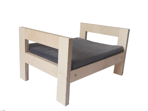Cute cat bed / cot from thick birchwood with soft cat mattress