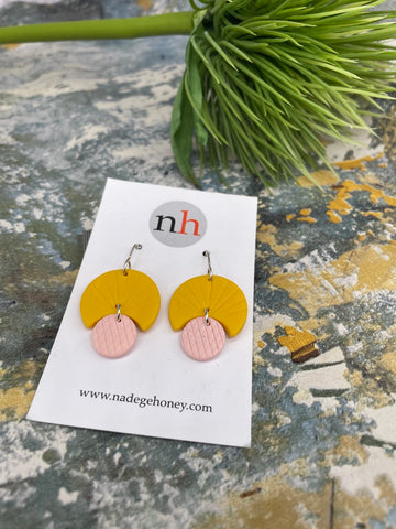 Scallop Earrings (mustard/pink) 1 by Nadege Honey