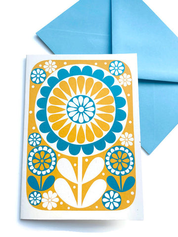 'Blue/yellow flower' card by Karoline Rerrie