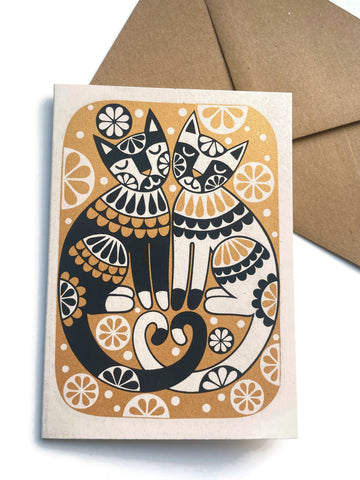 'Love cats' card by Karoline Rerrie